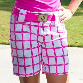 CLEARANCE JoFit Ladies Belted Golf Shorts - Lanai (Jo Pink Scratchy Windowpane)