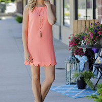 Renee Sleeveless Scalloped Dress: Neon Coral
