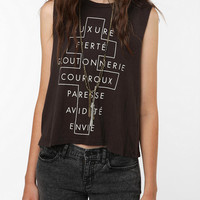 Truly Madly Deeply French Cross Text Muscle Tank Top