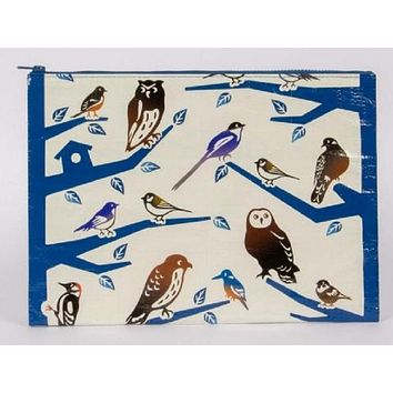Birdland Jumbo Zipper Pouch in Blue and White