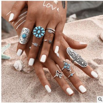 ONETOW New retro Bohemian national wind nine pieces of turquoise stone ring jewelry combination set
