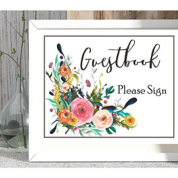 guestbook signage, wedding reception sign, instant download, guestbook art print, floral guestbook poster, wedding signage, guestbook ideas