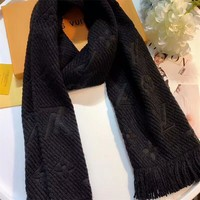 Best Online Sale Luxury Louis Vuitton LV Keep Warm Scarf Soft Scarves Winter Wool Beautiful Shawl Monogram Flower - Black