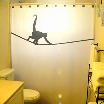 Tightrope Monkey Shower Curtain Kids Bathroom Decor highwire chimpanzee gorilla chimp circus act funambulism wateproof mildew resistant