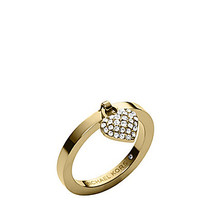 Michael Kors Pave Heart Charm Ring - Gold