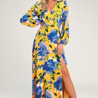 Carolita Yellow Floral Print Long Sleeve Maxi Dress