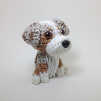 Australian Shepherd Red Merle Amigurumi Stuffed Animal Crochet Dog Doll  / Made to Order