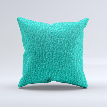 Light Teal Leather  Ink-Fuzed Decorative Throw Pillow