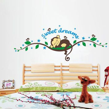 Brand 2014 New fashion wall sticker Sweet Dreams Monkey Removable Vinyl Decal Mural Home Decor Wall Sticker Home Decor