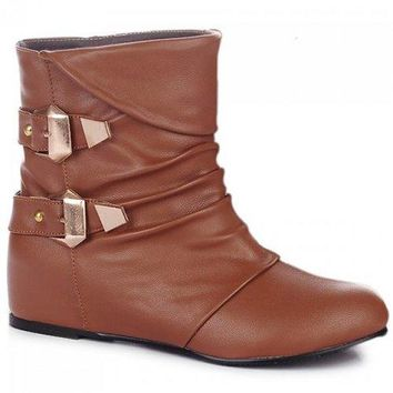 Double Buckle PU Leather Ruched Short Boots - Brown 42