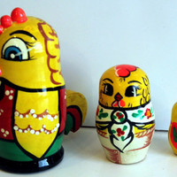 Little Chick traditional Russian nesting doll toy painted curved made by hand decorative collectible holiday birthday Easter gift
