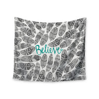 "Pom Graphic Design ""Believe"" Gray Teal Wall Tapestry"