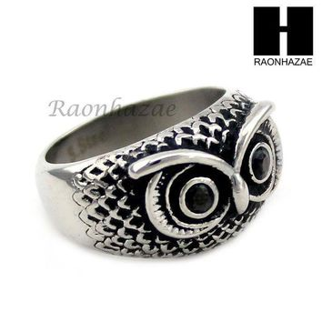 Men Stainless Steel Hip Hop Antique Silver Tone Owl W/ Onyx Ring 8 12 Sr027cl
