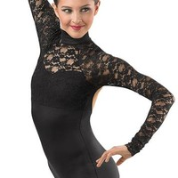 Long-Sleeve Lace Biketard