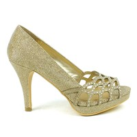 Celeste Melissa-03 Embellished Laser-cut Dress Pump in Gold @ ippolitan.com