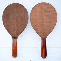 A Set of Two Antique/Vintage Indoor Outdoor Wooden Ball Paddles