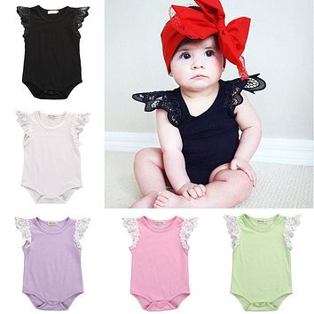 Pudcoco Lace Newborn Baby Girl Clothes Short Sleeve Romper Candy Color Jumpsuit Playsuit Toddler Romper Outfits