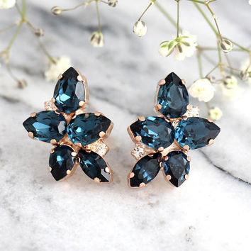 Blue Navy Earrings, Dark Blue Earrings, Bridal Blue Earrings, Swarovski Earrings, Bridesmaids Earrings, Gift For Her, Blue Crystal Earrings
