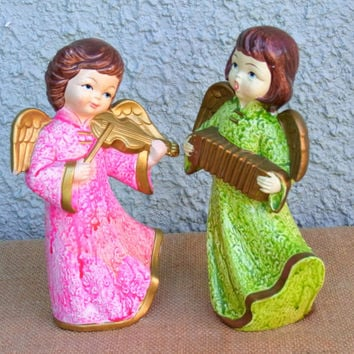 Pair of Angels Playing Musical Instruments Vintage Angel Figurines Collectible Home Decor
