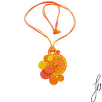 Twist, hand made, sunny soutache pendant with ceramic beads, bohemian