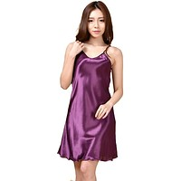 Women Spaghetti Strap Silk Sleeveless Night Gown In Solid Colors