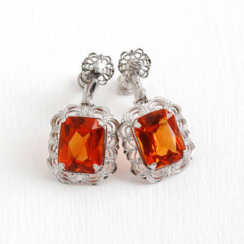 Vintage Art Deco Sterling Silver Filigree Orange Glass Stone Screw Back Earrings - 1920s Dangle Clip On Simulated Citrine Flower Jewelry