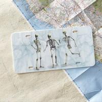 Funny Skeletons In Smokey Background Texture License Plate