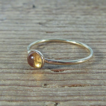 Stacking Ring Gold Citrine Gemstone