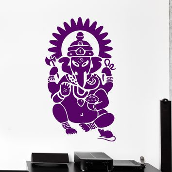 Vinyl Wall Decal Ganesha Hindu Sanskrit Om India God Art Hinduism Stickers Unique Gift (ig2828)