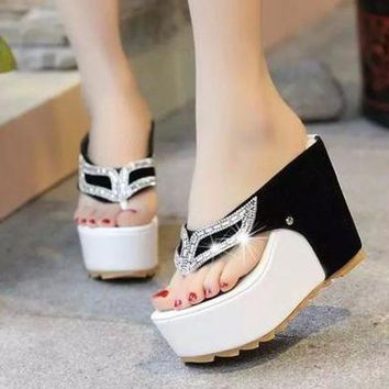 DCCKCO2 Summer Women Sandals High Heel Rhinestone Clip Toe Platform Shoes Flip Flops Wedge Shoes