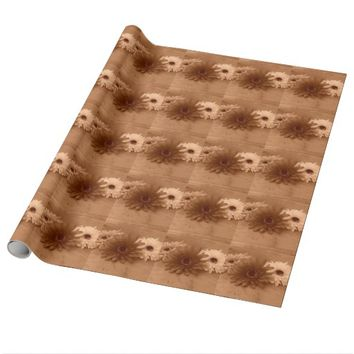 Sepia Flowers Wrapping Paper