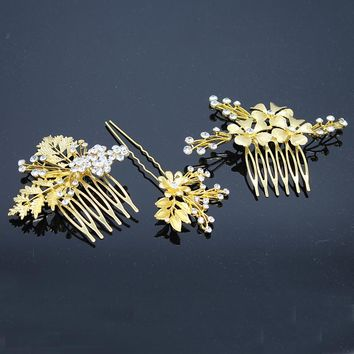 3 PCS Vintage Bridal Hair Accessories Set Wedding Gold Color Metal Crystal Flower Leaf Hair Comb With Clip Hairpin For Women