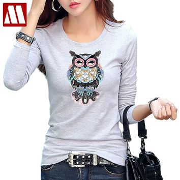 Fashion Sweet Owl Sequin Applique t-shirt Women Originality Summer T-Shirts Lady Brand Big Size t shirts Casual Cotton Tops Tees