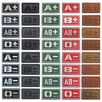 Tactical Military Blood Type Badge Patch A+ B+ AB+ O+ Positive A B AB O + POS A- B- AB- O- NEG - Negative PVC Morale Hook Patch