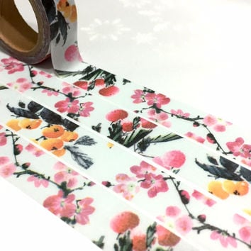 pink flower washi tape 7M Chinese flower ink painting fruit pattern Masking tape gardening theme sticker tape Asian art decor paper tape
