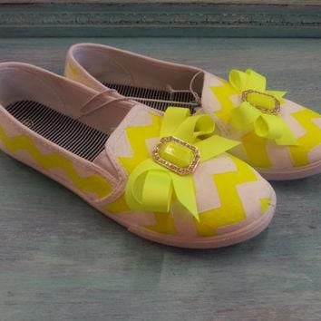 Neon Chevron White & Yellow Hand Painted Womens Canvas Flats Shoes Slip On Vans Style