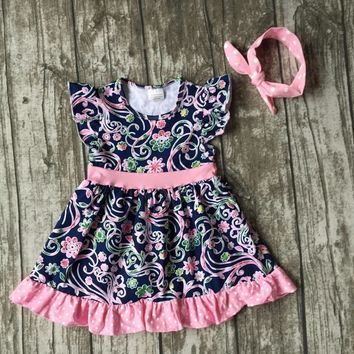 new arrival baby girls clothes kids wear summer navy pink floral print dress Aztec cotton with mtaching bow boutique sets
