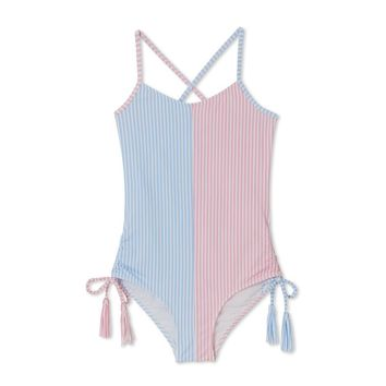Stella Cove Girls Light Blue and Pink Striped Swimsuit