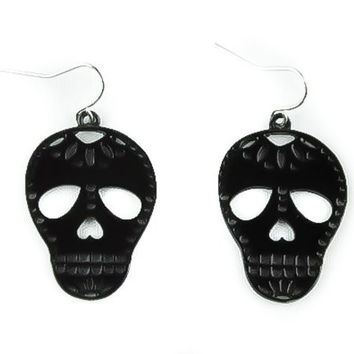 Sugar Skull Earrings Muertos Day Dead Goth Halloween