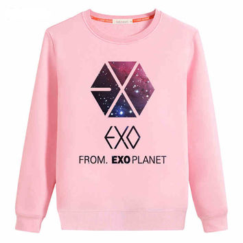 Autumn Hoodie Sweatshirt Women Hedging EXO Pattern From EXO Planet Print Loose Casual Round Neck Hoodies Female Sudaderas C1654