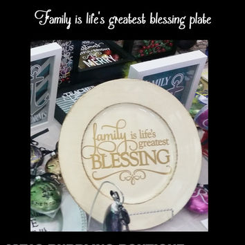 Mothers Day Gift - Off White Decorative Plate for Family Blessing Plate or Christmas Gift Home Decor, Thanksgiving Family Gift