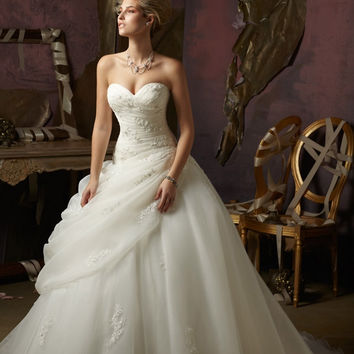 Blu by Mori Lee 4973 Beaded Strapless Ball Gown Wedding Dress