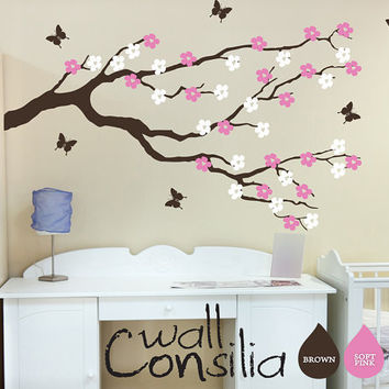 Nursery Blossom Branch with Butterflies Wall by WallConsilia