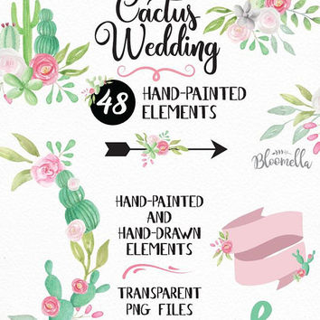 Watercolour Wedding Cactus Clipart - 48 Hand Painted & Drawn Scrolls Banners INSTANT DOWNLOAD Flower Elements Succulents Cacti PNGs Digital