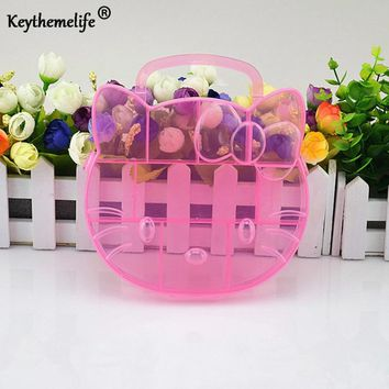 Hello Kitty Storage Box Case Holder Clear Pink color Plastic Adjustable Jewelry Necklace Pin Craft Organizer New trendy FA