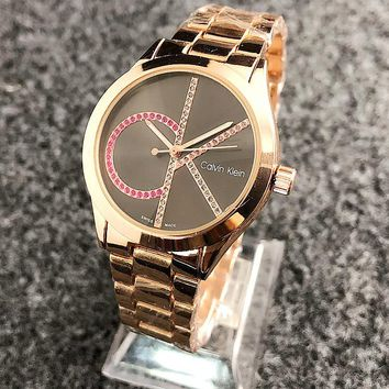 CK Watch Colorful Diamond Mark Calvin Klein Women Men Trending Watch Metal Watchband Rose Gold