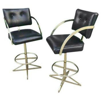 Pre-owned Mid-Century Hollywood Regency Bar Stools - A Pair