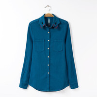 Blue Denim Embroidery Long Sleeve Pocket Collar Shirt
