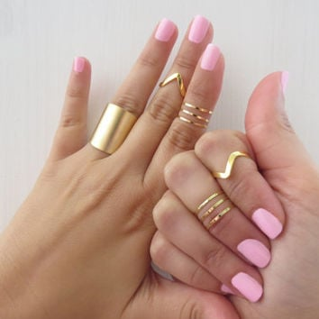 Set of 9 gold stacking rings, Gold knuckle ring, Band ring, Adjustable ring, Tube ring, Gold midi rings, Chevron ring, Custom jewelry