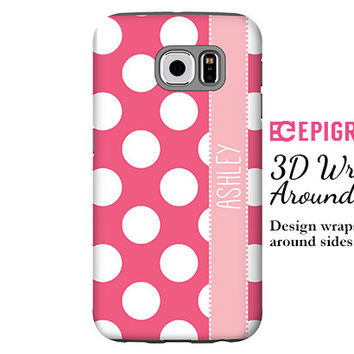 Personalized Samsung Galaxy S6 Edge case, hot pink polka dots Galaxy S6 case, Galaxy S5 case,striped Galaxy S4 case, pink Galaxy S6 case